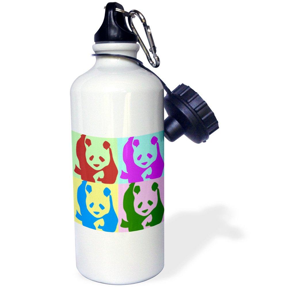 3dRose wb_51439_1''Colorful Pandas Fun Animal Art'' Sports Water Bottle, 21 oz, White
