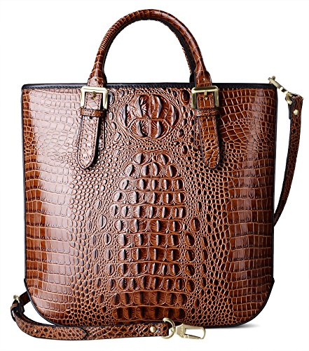 PIFUREN Women Leather Top Handle Crocodile Tote Handbags (Crocodile Genuine Handbag)