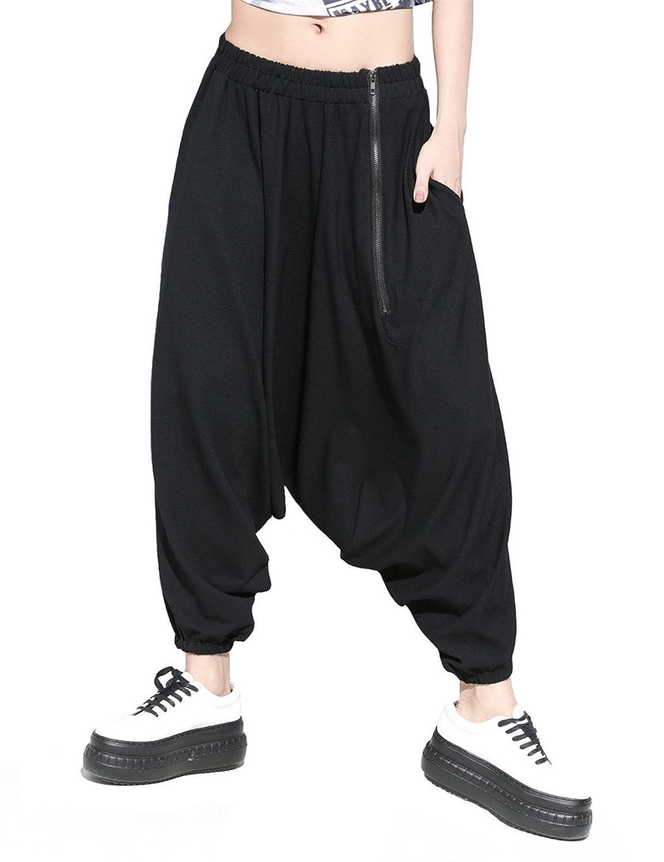 Women's Hip Hop Street Dance Solid Oversized Baggy Harem Pants Zipper Trousers