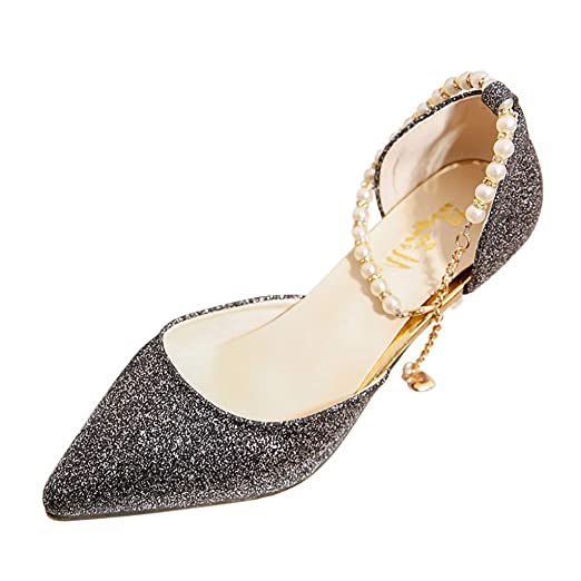 9a00c39be2043 Tsmile Women Sandals Sequin Leisure Pointed Toe Shoes Pearl Buckle High  Heel Party Wedding Sandals Black