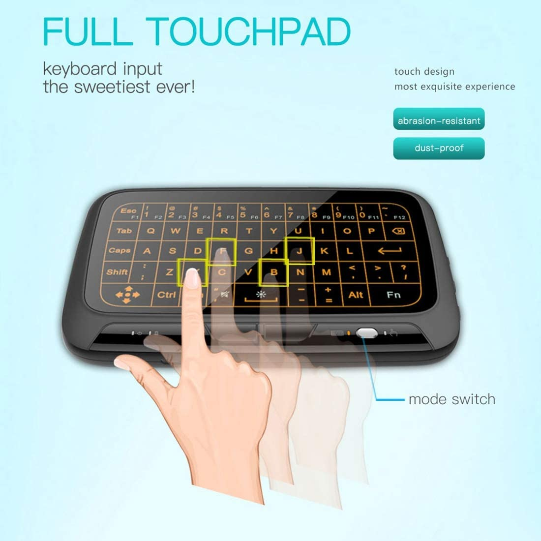 Black 2.4GHz Mini Wireless Keyboard Full Touchpad with 3-Level Adjustable Backlight JINYANG Mini Pc H18
