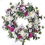 White Dahlia, Zinnia & Petunia Silk Wreath (SW920) - Spring Wreath, Summer Wreath, Everyday Wreath (26 inch)