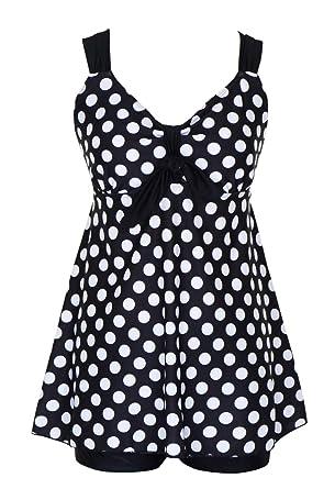 978b03d7eab42 DANIFY Women's Plus Size Swimwear Two Piece Swimsuit Pin up Tummy Control  Tankini Swimdress at Amazon Women's Clothing store: