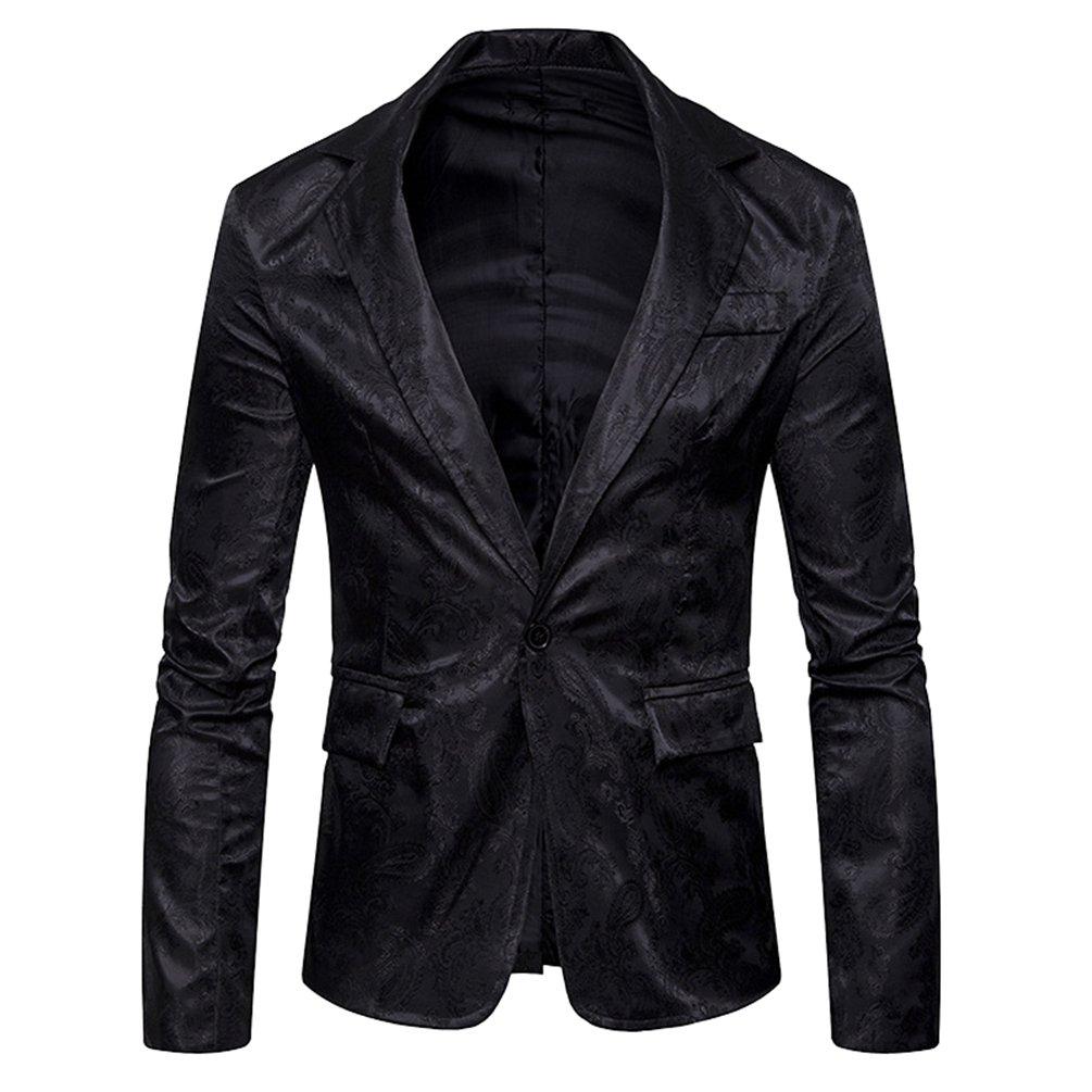 ZhiYuanAN Giacca Da Uomo Con Un Bottone Blazer Chic Paisley Jacquard Cappotto Da Matrimonio Slim Fit Elegante