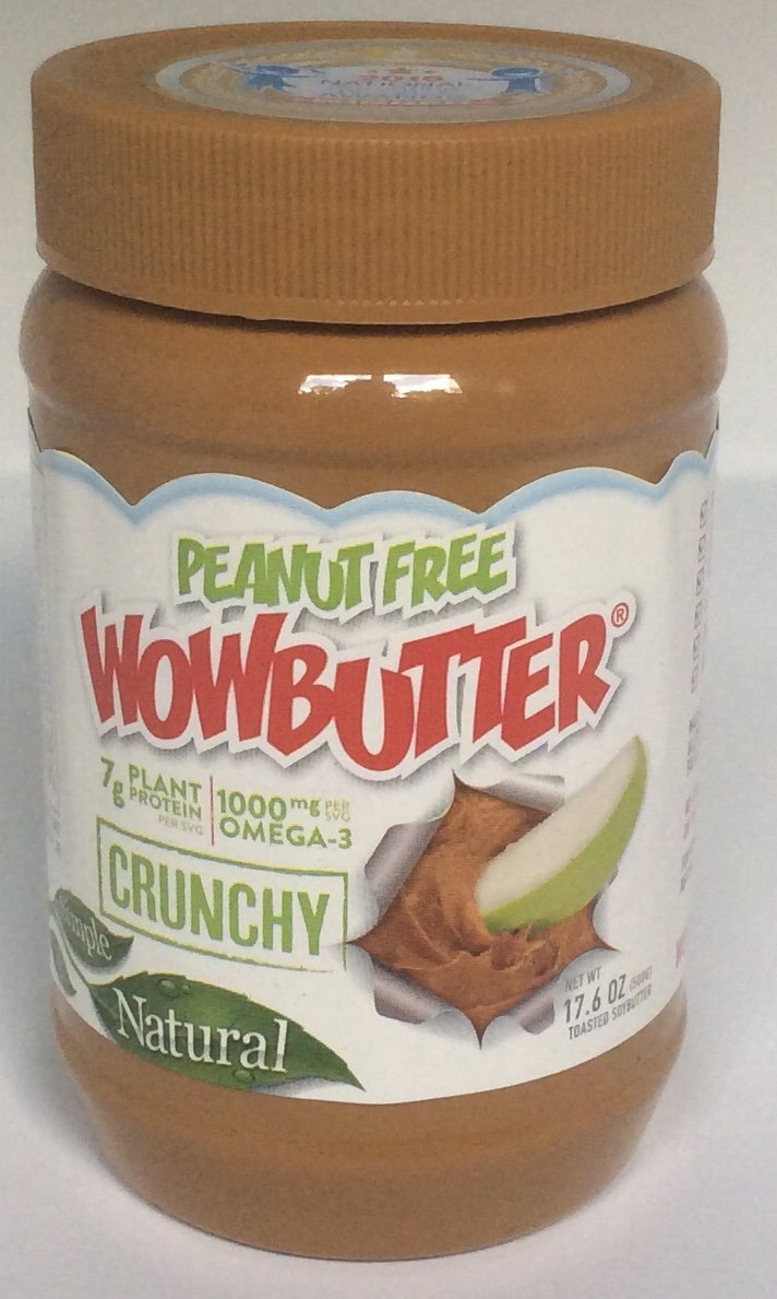 WOWBUTTER Peanut Free All Natural Crunchy Spread 17.6 Ounce - Toasted Soybutter (Pack of 2)