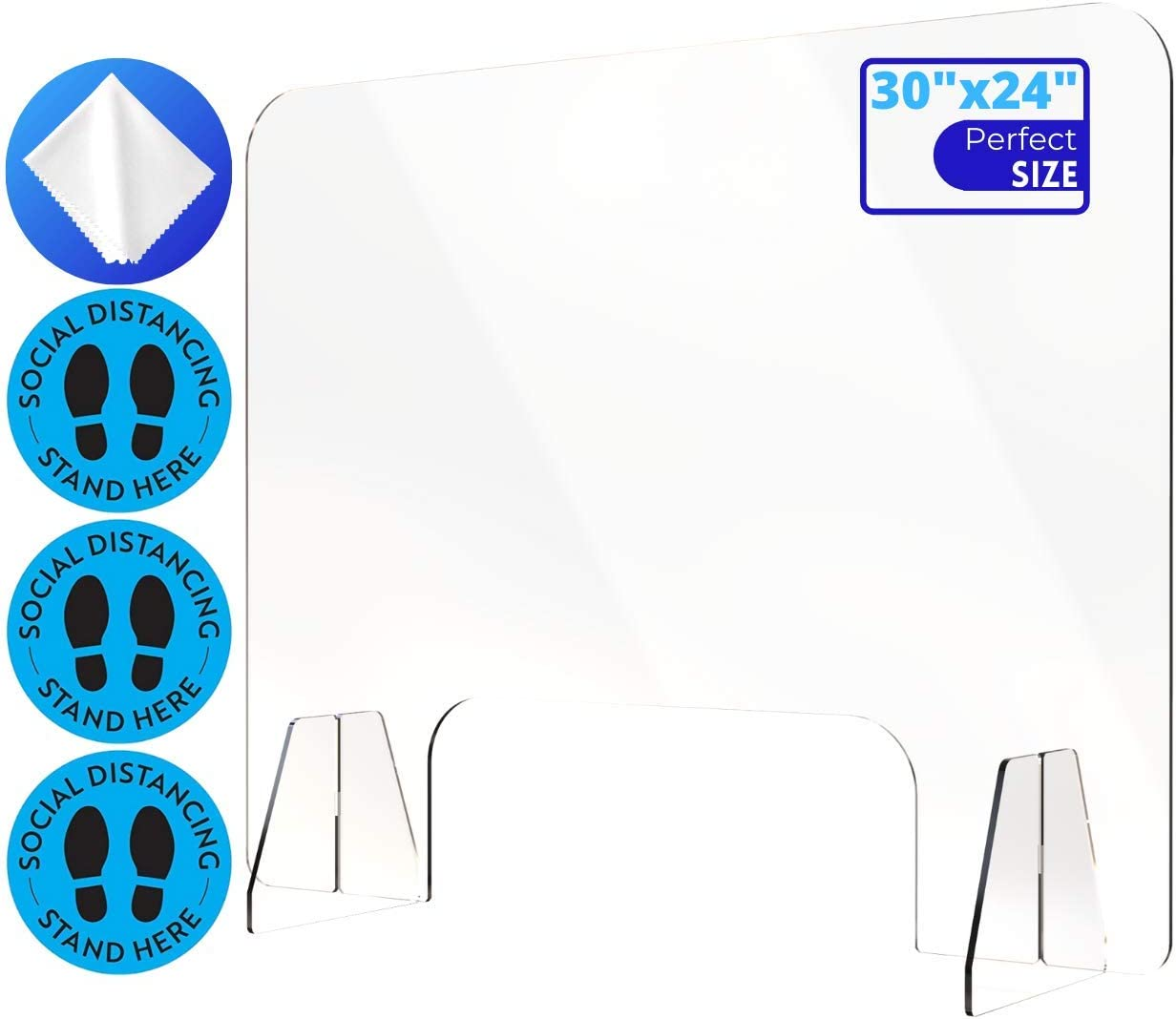 """Sneeze Guard for Counter and Desktop, Portable Acrylic Plexiglass Plastic Shield Barrier, Perfect for Checkout, Drug Stores, Nail Salon, Grocery Store, Hotel Lobby, Food Screen and More, 30"""" x 24"""""""