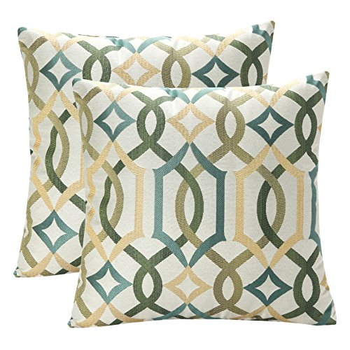 Pack of 2 SimpleDecor Jacquard Geometric Links Accent Decorative Throw Pillow Covers Cushion Case Multicolor 18X18 Inch Green (Green Sofa Pillows)