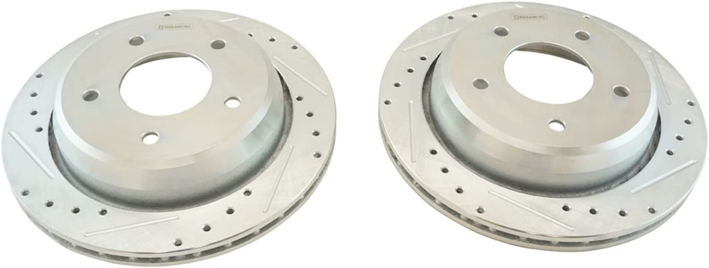 Rear Performance Drilled Slotted /& Coated Disc Brake Rotor Pair for GM