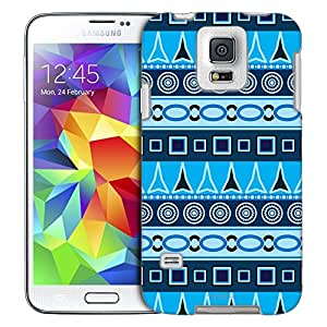 Samsung Galaxy S5 Case, Slim Fit Snap On Cover by Trek Aztec Blue Pattern Trans Case
