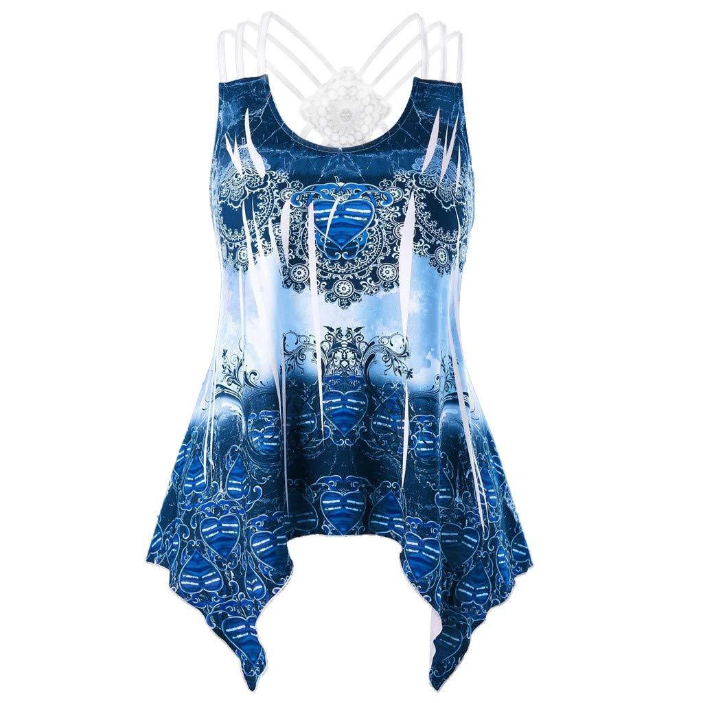 Lace Tank Tops for Women, Womens White V Neck Blouse,Fashion Women Printed Tank Up Sleeveless Vest O-Neck Lace Bandage Blouse