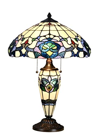 Niloah Nh16203 Tiffany Style Table Lamp 16 Inch Shade With Lighted
