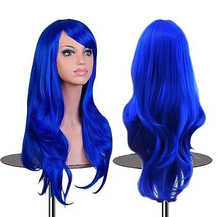Falamka peluca larga onda para mujeres fiesta pelucas coloridas (azul)