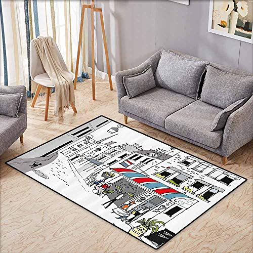 Floor Rug Pattern Paris Decor Drawing of a Street in Paris A Cafe and The Street Lamp Illustration Print White and Grey Machine wash/Non-Slip W7'8 - Hawk Floor Lamp