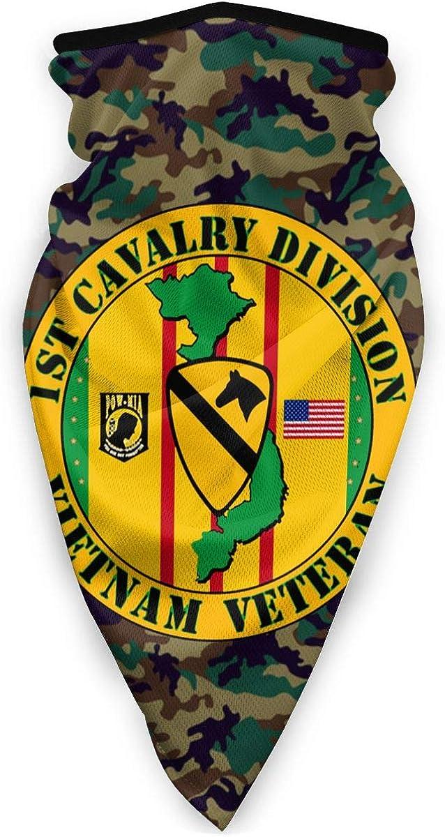 1st Cavalry Division Vietnam Veteran Outdoor Face Mouth Mask Windproof Sports Mask Ski Mask Shield Scarf Bandana Men Woman