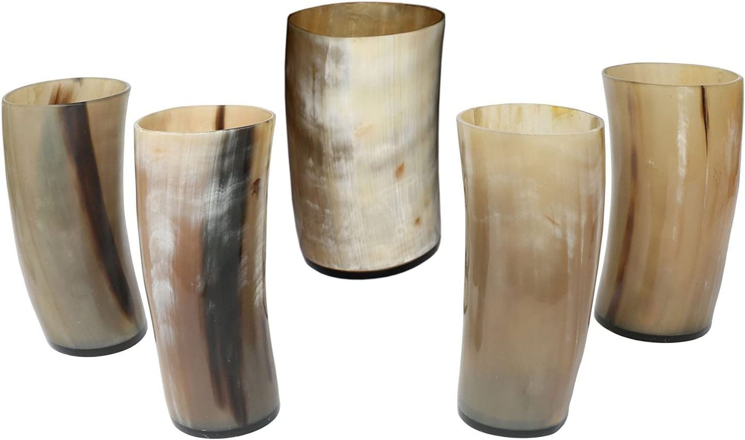 Beautiful Tableware Goblet Set Of 2 Pcs Viking Drinking OX Horn Glass