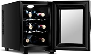 LHONE Mini Wine Cooler Fridge Freestanding Refrigerator Chiller Counter Top Wine Cellar with Digital Temperature Display Quiet Operation Fridge Black (6 Bottle)