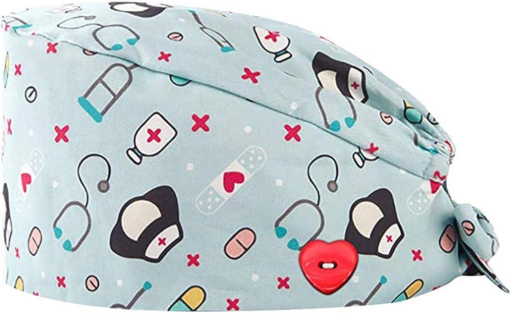 riou Gorro Quirúrgico Flor Corbata Algodón Gorro de Cirugía Ajustable Médico Enfermera Gorro Quirofano Reutilizable para Pelo Largo Corto Gorro de Trabajo