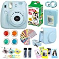 FujiFilm Instax Mini 8 Instant Film Camera Blue + Instax Mini Film Twin Pack (20 Sheets) + Blue PU leather Case + Frames + Photo Album + 4 Color Filters + Selfie Mirro And More Top Accessories Bundle by Fujifilm - Abesons