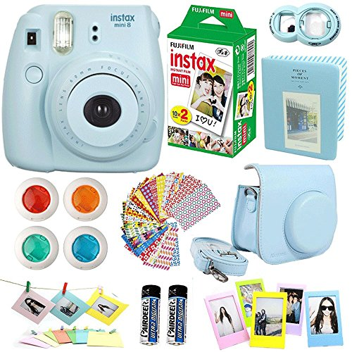 FujiFilm Instax Mini 8 Instant Film Camera Blue + Instax Mini Film Twin Pack (20 Sheets) + Blue PU leather Case + Frames + Photo Album + 4 Color Filters + Selfie Mirro And More Top Accessories Bundle