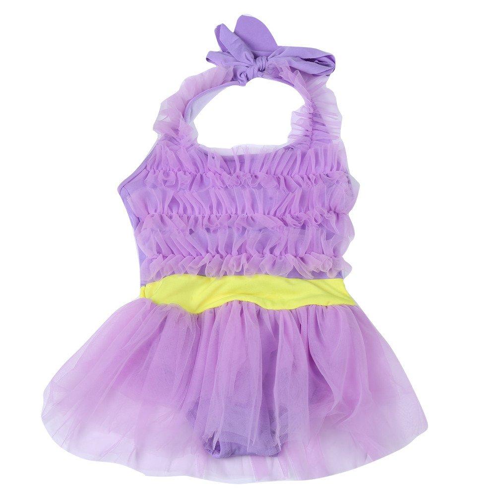 baskuwish Baby Swimsuit SWIMWEAR ベビーガールズ B07PPTN51C パープル 6-10T