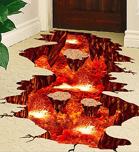 Volcano Spout Magma Lava Rock Wall Decal Floor Sticker Home Decor for Bedroom Nursery Living Room Stairs 24x35 inches By Oumanzhi