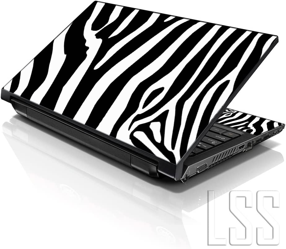 "LSS Laptop 15 15.6 Skin Cover with Colorful Zebra Print Pattern for HP Dell Lenovo Apple Asus Acer Compaq - Fits 13.3"" 14"" 15.6"" 16"" (2 Wrist Pads Free)"