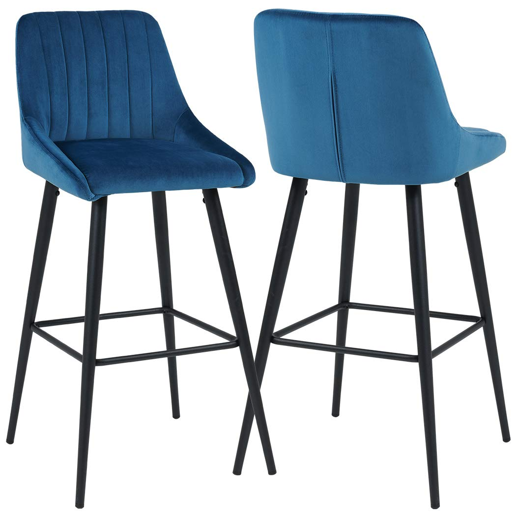 Duhome Bar Stools Counter Height Set of 2 Barstools Velvet Stool Modern Bar Chairs with Barstool Kitchen Counter Stools Dining Chairs Blue by Duhome Elegant Lifestyle