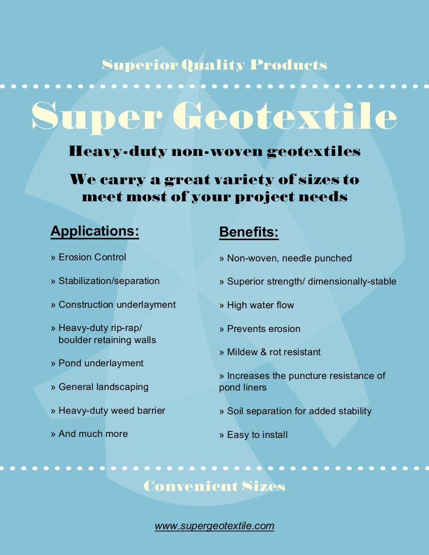 10X25 Super Geotextile 6 oz Geotextile