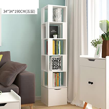 JXBOOS Bookshelf360 Rotating Bookshelf Floor Racks Simple Bookcases Student Creative Multi Functional