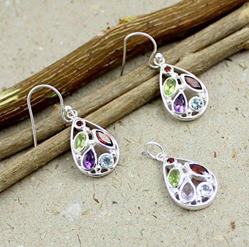 Multi gemstone silver earring, earring pendant jewelry set, matching jewelry, multi stone pendant, garnet, amethyst, blue ()