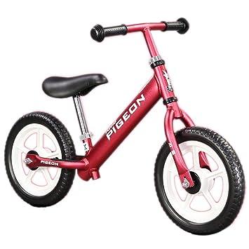 Niño balance coche no pedal deslizamiento coche bebé deslizamiento doble rueda bicicleta primer equilibrio entrenamiento bicicleta de metal ligero: ...