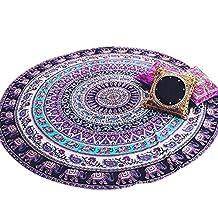 Efanr Indian Mandala Round Roundie Beach Throw Tapestry Wall Art Hanging Hippy Boho Gypsy Tablecloth Beach Towel Circle Yoga Mat Bohemian Outdoor Picnic Blanket Chiffon 59 inches Diameter