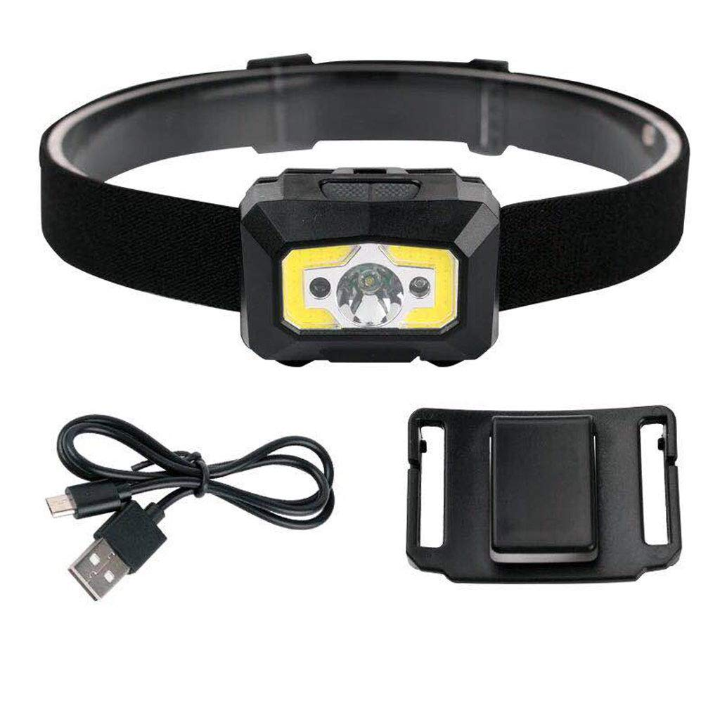 Black LED Induction Charging Waterproof Super Bright HeadMounted Night Fishing Perfect for Running,Walking,Camping,Reading