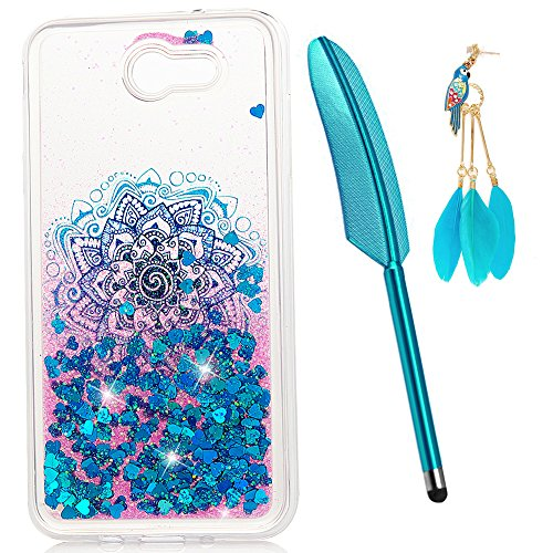 J3 Case, J3 Emerge Case, Liquid Glitter Case Bling Shiny Flowing Love Heart Cover Clear TPU Bumper for Samsung Galaxy J3 2017/J3 Prime Case with Stylus Pen Plug Dust ZSTVIVA- Blue Mandala Totem Flower -