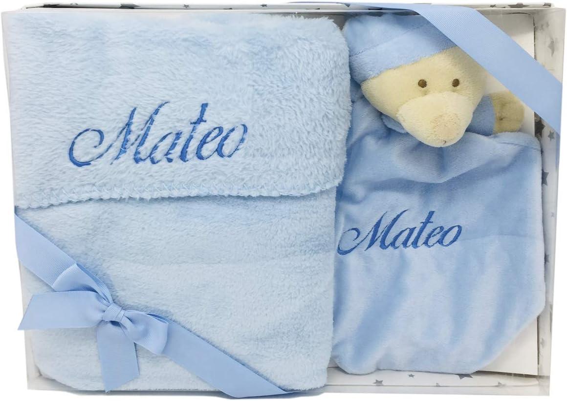 Set de Dou Dou y Manta de coralina para Bebé personalizado con el nombre, detalle para regalo babyshower (celeste)