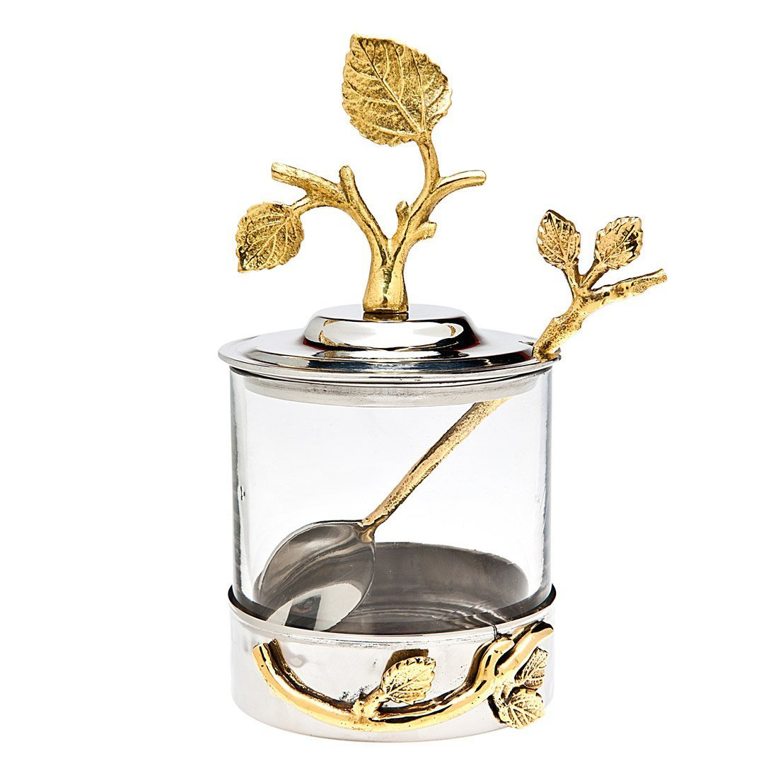 Godinger Silver Art Leaf Jam Jar With Spoon by Godinger