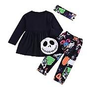 Halloween Clothes Sets for Baby,Newborn Baby Cute 3Pcs Pumpkin Dress+Cartoon Pants+Headbands Outfits (Cotton Blend)