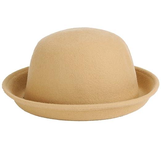 LKXHarleya Women s Roll-up Brim Bowler Hat Wool Felt Fedora Hat ... 31e0932697a
