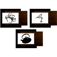 Conjunto deunto de 3 Quadros Decorativos, Ambiente Cozinha, Modelo 2 Me Criative QDC Preto Pacote de 1