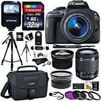 Canon EOS Rebel SL1 Digital SLR with 18-55mm STM Lens + Polaroid .43x HD Wide Angle Lens & 2.2X Telephoto Lens + Transcend 32 GB SDHC + Polaroid Tripods + Filters + Flash + Bag + Accessory Bundle Overview Review Image