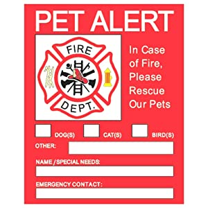 Elite Refuge 4 Pack Pet Alert Safety Fire Rescue Stickers - Save Our Pets/Emergency Pet Inside Decals - in Case of Emergency Danger Pet in House Home Window/Door Sign