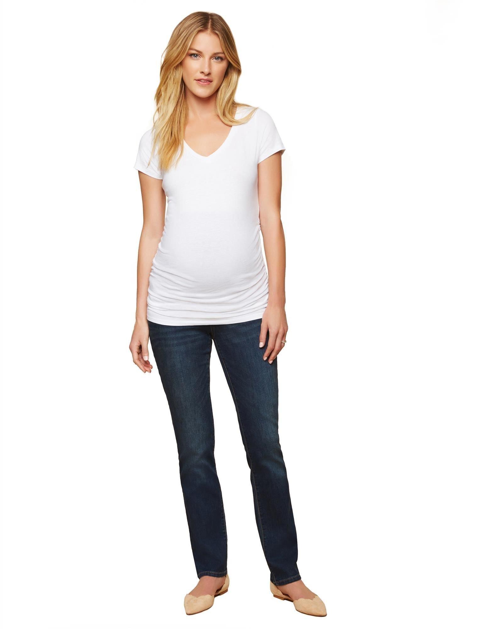 Motherhood Maternity Women's Maternity Super Stretch Secret Fit Belly Straight Leg Denim Jean, Dark Wash, Petite Medium