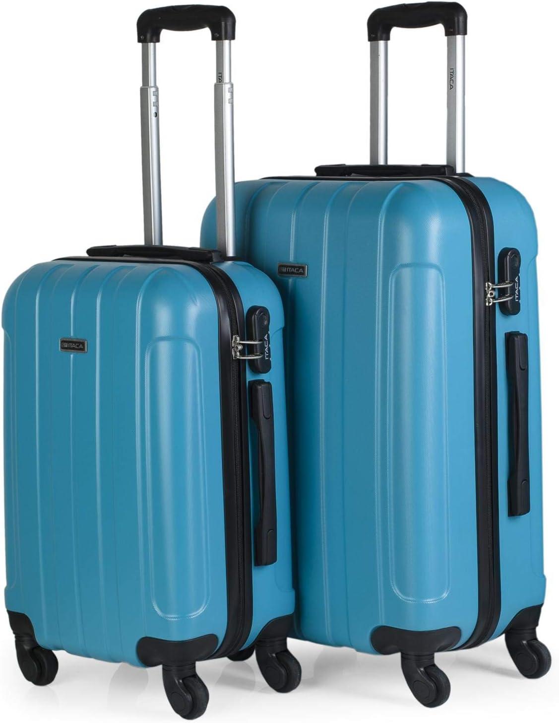 ITACA - Juego Maletas de Viaje Rígidas 4 Ruedas Trolley 55/65 cm ABS. Resistentes y Ligeras. Asas Candado. Pequeña Cabina Low Cost Ryanair y Mediana. Estudiante. 771115, Color Turquesa