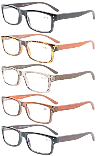 70cc186c5d0 Eyekepper 5-Pack Quality Spring Hinges Wood Arms Mens Womens Reading Glasses  Included Computer Glasses