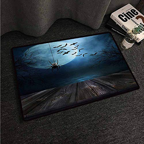 HCCJLCKS Printed Door mat Halloween Misty Lake Scene Rusty Wooden Deck Spider Eyeball and Bats with Ominous Skyline Country Home Decor W35 xL59 Blue -