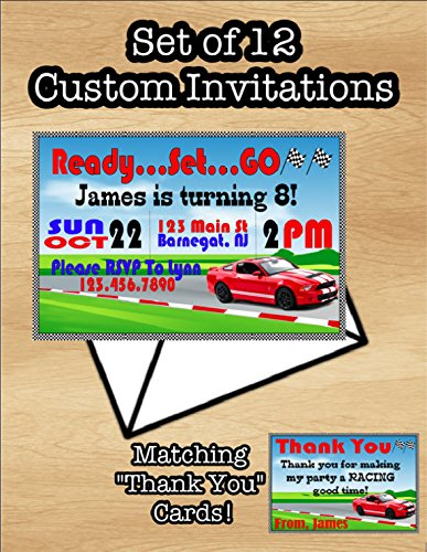 Amazon Com Set Of 12 Racing Car Birthday Invitations Themed