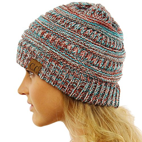 CC Quad Color Warm Chunky Thick Stretchy Knit Slouchy Beanie Skull Cap Hat Teal