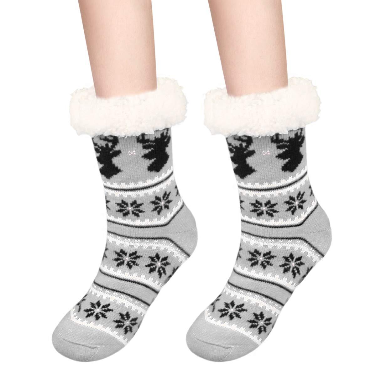 Calmare Calzino donna pantofola, Signore intimo morbido pile Slip pantofola calzini, natale alce di fiocco di neve calzini per le donne ragazze