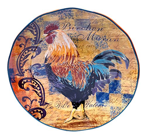 Rooster Serving Platter - Certified International Rustic Rooster Round Platter, 15-Inch, Multicolor