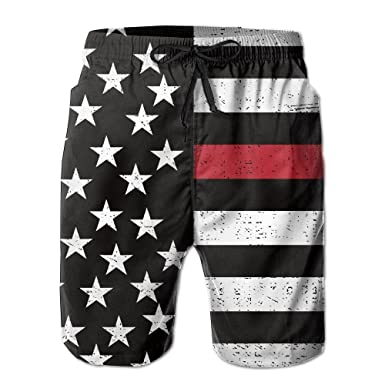 4513363a81 Amazon.com: ZrGo Men's Firefighter Red Line Flag Quick-Dry Summer Beach  Surfing Board Shorts Swim Trunks Cargo Shorts: Clothing